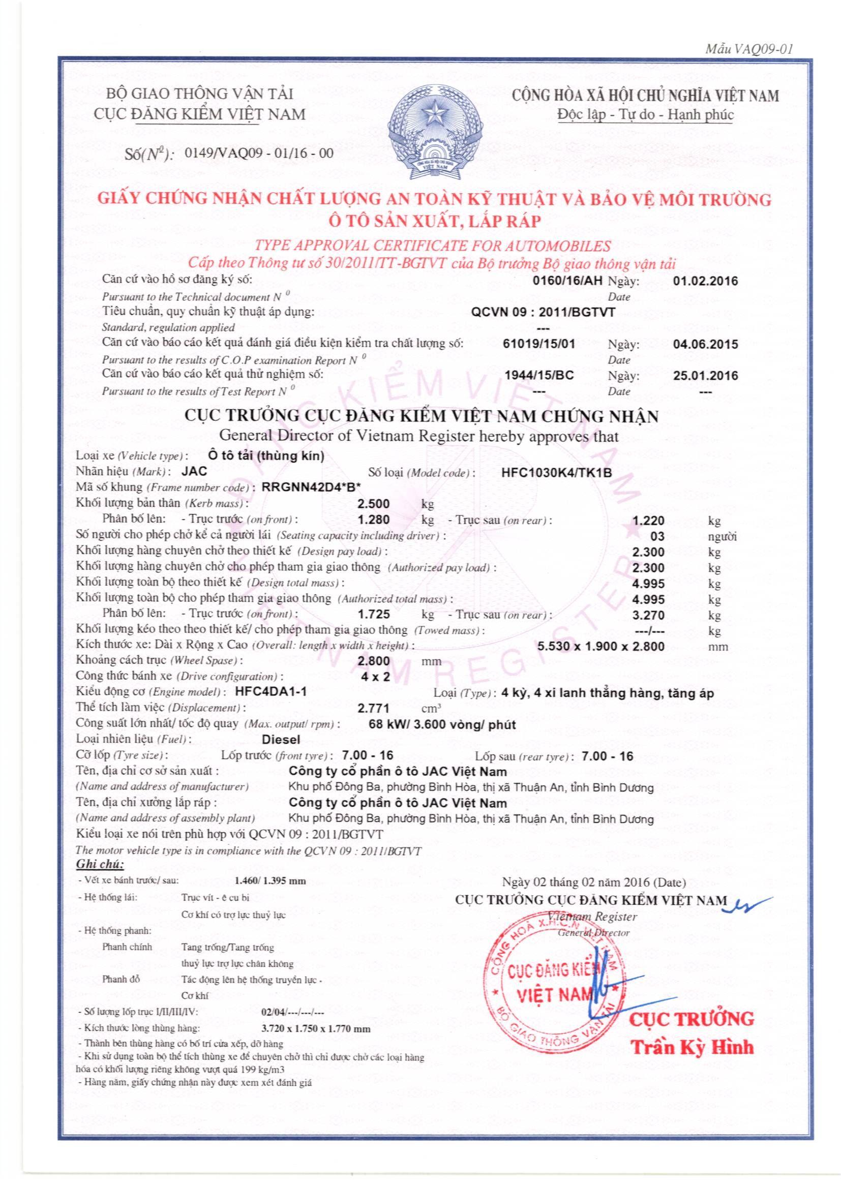 TSKT Jac cc 2.4T (HFC1030K4), thùng Kín 13-1-2016